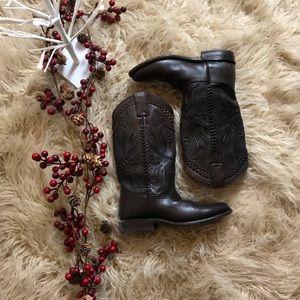 Frye Women's Tooled Cowboy Boot Size 6 EUC